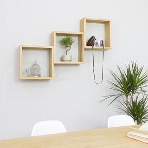 Cube Wall Shelves Set Of Three Solid Oak Square Shelves - shelves