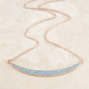 Rose Gold Pave Turquoise Crescent Necklace - summer sale
