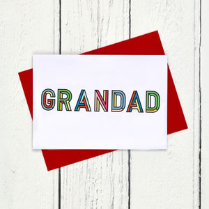 Grandad Colourful Typographic Father's Day Card