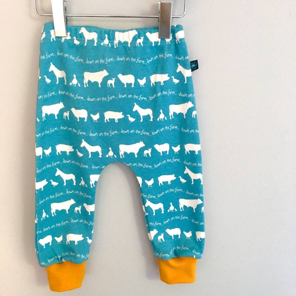 Blue Farm Baby Leggings, Farm Animals Leggings