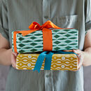 Gift Wrap with grosgrain ribbon