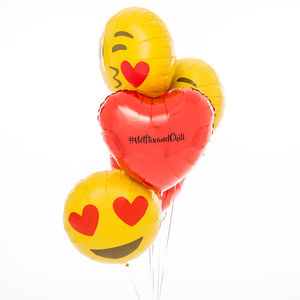 Inflated Personalised Emoji Loved Up Balloons