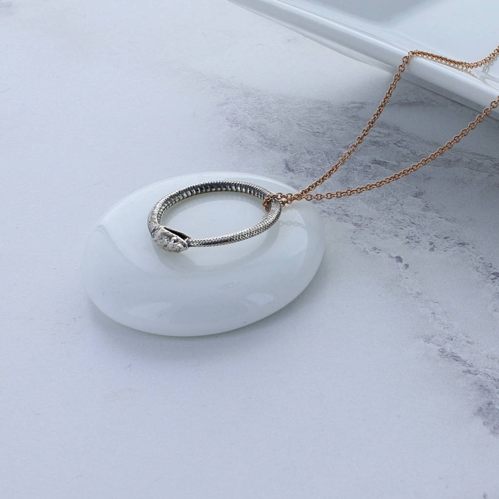 Silver And Rose Gold Snake Ring Necklace
