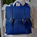 Blue Medium Sized Leather Buckle Backpack