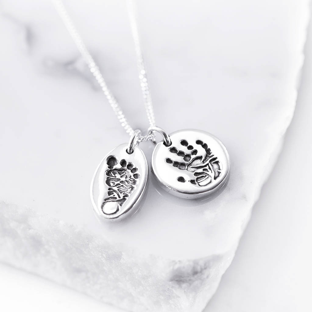 Personalised tiny hand foot and paw print pendant by button and bean personalised tiny hand foot and paw print pendant aloadofball Gallery
