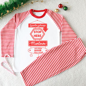 Santa Please Personalised Kid's Christmas Pyjamas