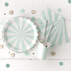Mint And Silver Party Tableware Set