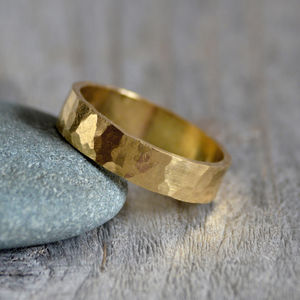 Hammered Effect Weding Band In 18ct Yellow Gold - new in wedding styling