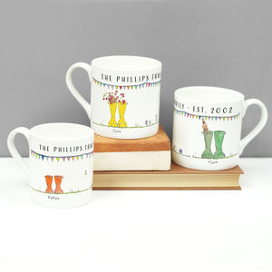 Personalised Set Of Welly Boot Family Mugs - gifts for couples