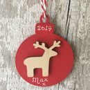 Personalised Reindeer Christmas Bauble Decoration