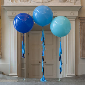 Peacock Blue Tassel Tail Balloon Trio