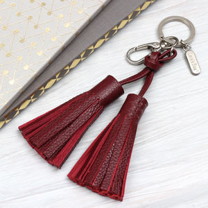 Personalised Luxury Nappa Leather Tassel Bag Charm - bag charms