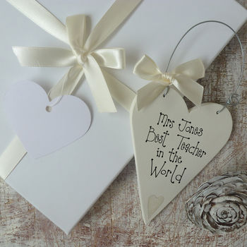 Personalised Teachers Message Heart And Gift Box