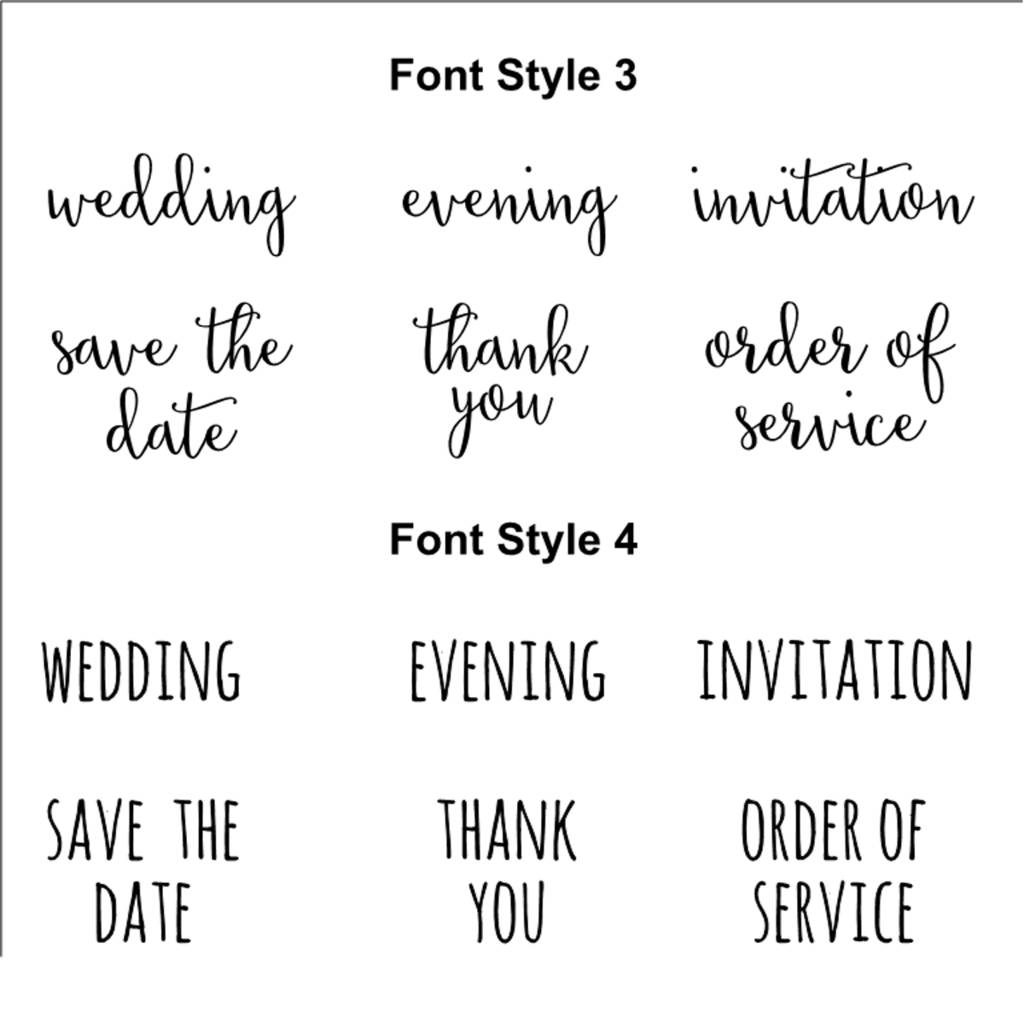 wedding invitation rubber stamps various fonts by skull and cross