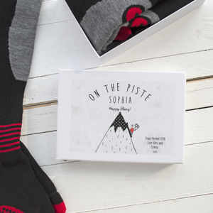 Personalised Women's Ski Socks Gift Box - gifts for skiers