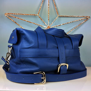 Handcrafted Marine Blue Leather Holdall - mens