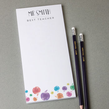 Personalised Teacher Tear Off Notepad And Pencils