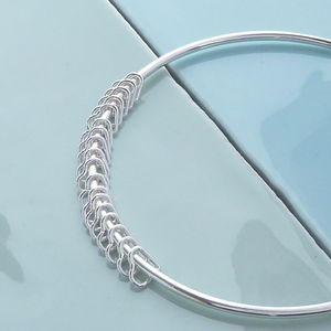 18th Birthday Handmade Silver Hearts Bangle - 18th birthday gifts