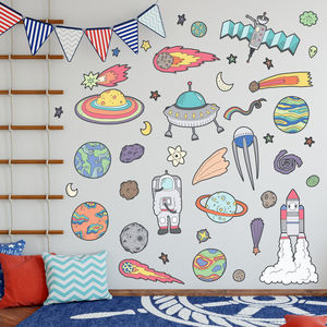 Space Rocket And Asteroids Wall Sticker Pack - wall stickers