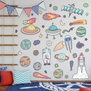 Space Rocket And Asteroids Wall Sticker Pack