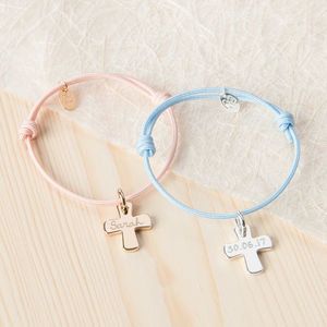 Personalised Cross Charm Bracelet - christening gifts