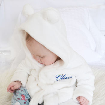 Personalised White Fleece Baby Robe With Ears