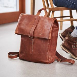 Rolltop Leather Backpack - personalised gifts