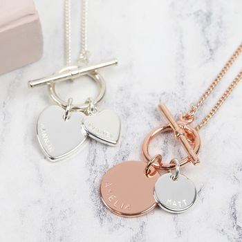 Personalised Toggle And Charm Necklace