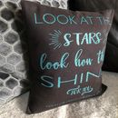 Glitter Print Cushion 'The Stars Shine For You'
