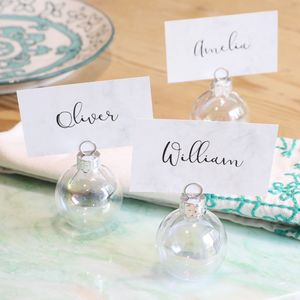 Set Of Six Iridescent Bauble Placecard Holders - winter sale