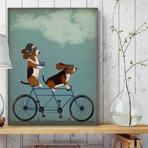 Basset Hound On Tandem - canvas prints & art