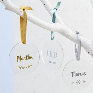 Personalised Foiled Name Christmas Decoration - tree decorations