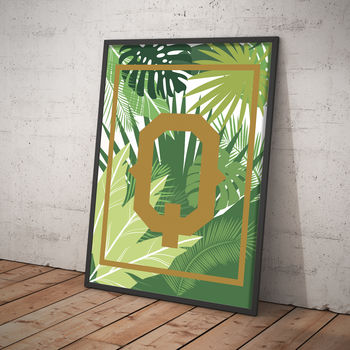Personalised Palm Leaf Floral Typographic Print