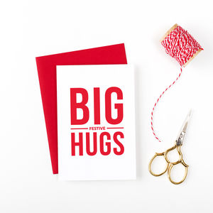 'Big Festive Hugs' Christmas Card - cards