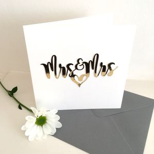 Luxe Gold Mrs And Mrs Card - wedding cards