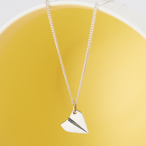 Sterling Silver Paper Aeroplane Necklace - necklaces & pendants