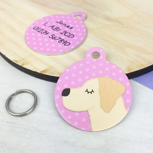 Golden Retriever Personalised Dog ID Tag - walking