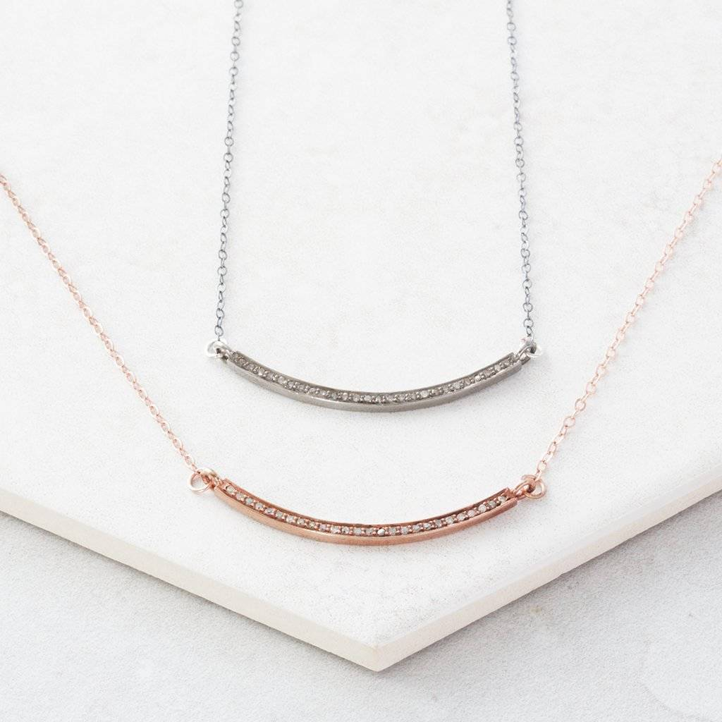Pave diamond rose gold bar necklace by under the rose pave diamond rose gold bar necklace aloadofball Image collections