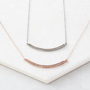 Pave Diamond Rose Gold Bar Necklace - necklaces & pendants