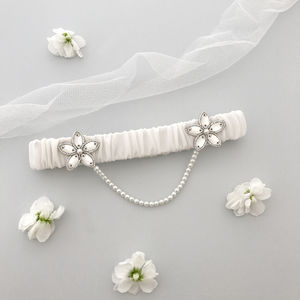 Wedding Garter With Pearl Chain Various Colours