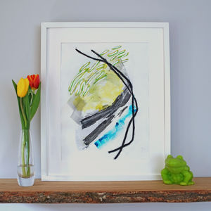 'Marching Sun' Bright Blue And Green Nature Print