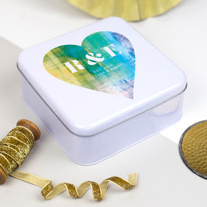 Heart Print Anniversary Tin Box