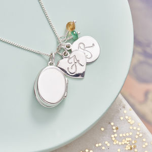 Silver Locket Necklace With Birthstones - personalised
