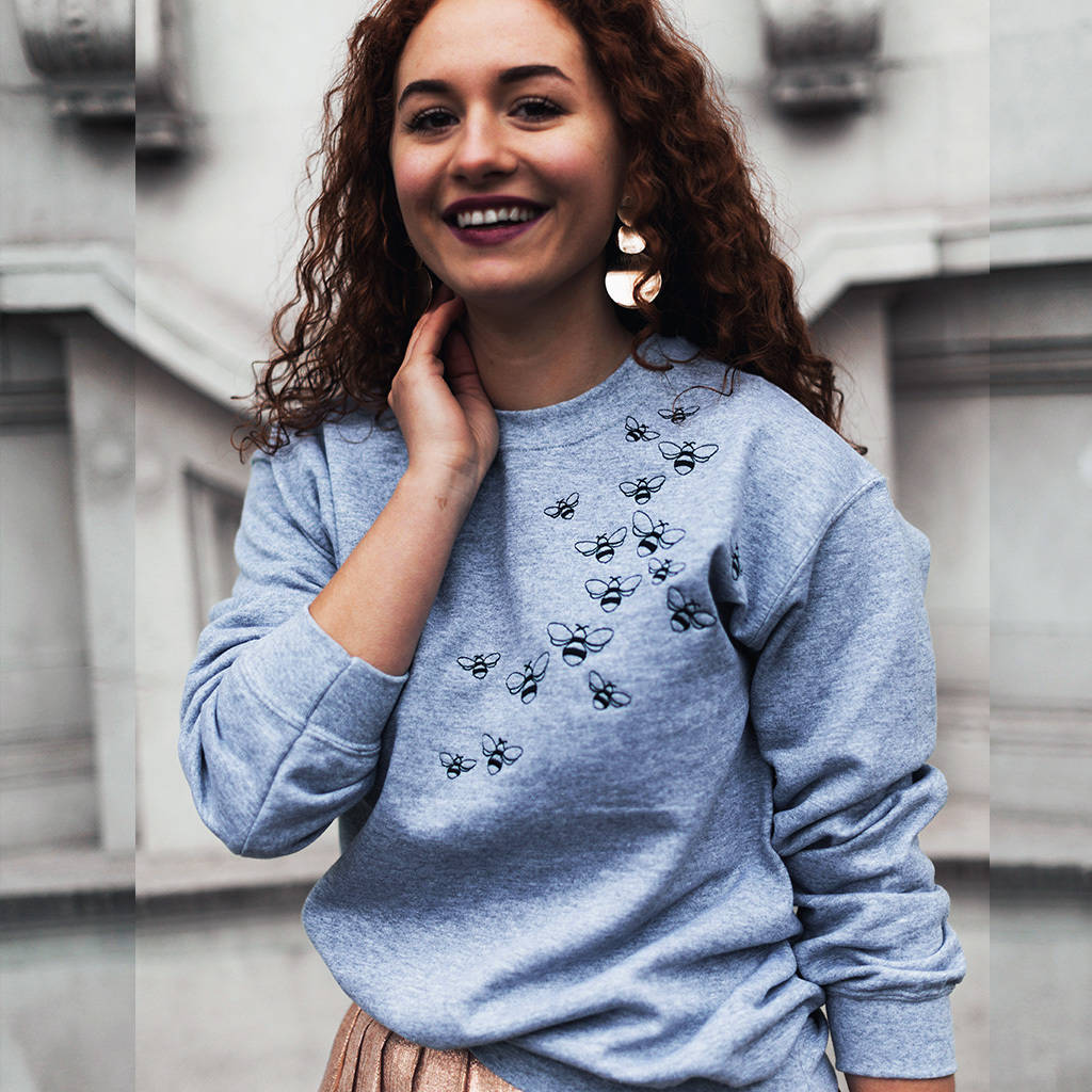 Embroidered Unisex 'Bee Swarm' Sweater