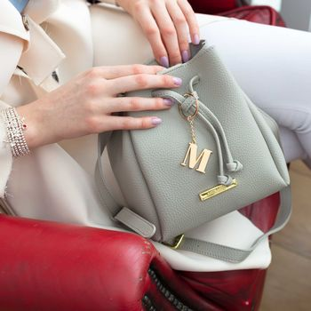 **Personalised Mini Chloe Bucket Bag In Grey
