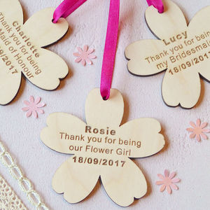 Thank You Wooden Flower - wedding favours