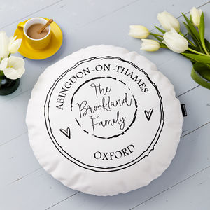 Personalised Round Family Cushion - living room