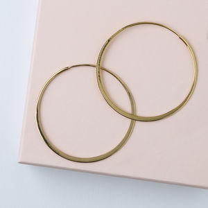 Gold Plated Large Flat Hoop Earrings - the halo effect