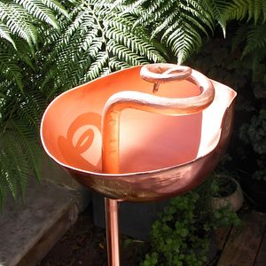 Copper Swirl Garden Birdbath Sculpture - copper gifts