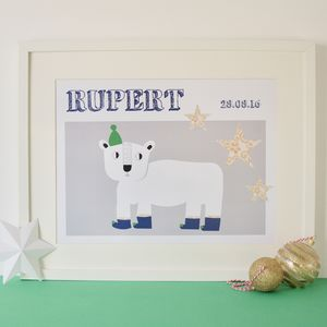Children's Personalised Polar Bear Art Print - what's new